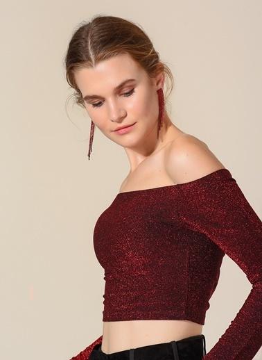 Agenda Simli Carmen Yaka Bluz Kırmızı